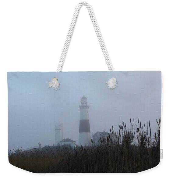 Foggy Montauk Lighthouse Weekender Tote Bag