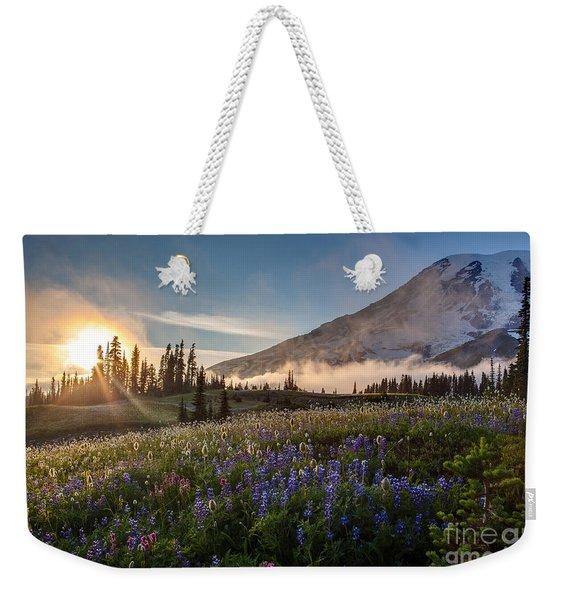 Foggy Rainier Sunset Weekender Tote Bag