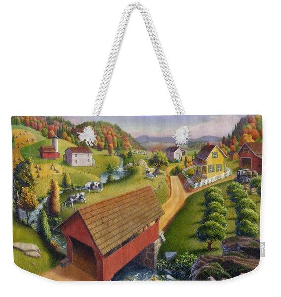 Folk Art Covered Bridge Appalachian Country Farm Summer Landscape - Appalachia - Rural Americana Weekender Tote Bag