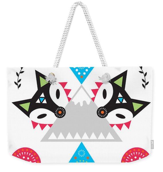 Folk Fox Weekender Tote Bag