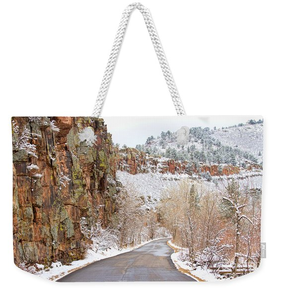 Follow The Red Rock Ridge Winter Road  Weekender Tote Bag