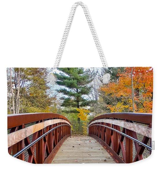 Foot Bridge In Fall Weekender Tote Bag