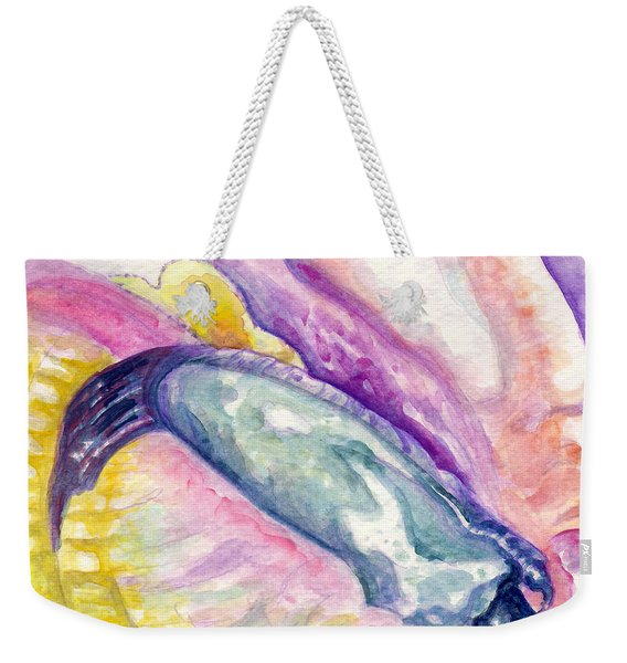 Weekender Tote Bag featuring the painting Foot Of Conch by Ashley Kujan