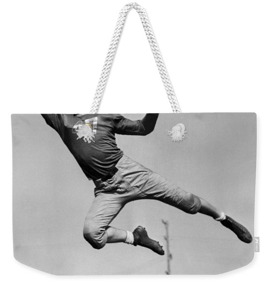 Football Player Catching Pass Weekender Tote Bag