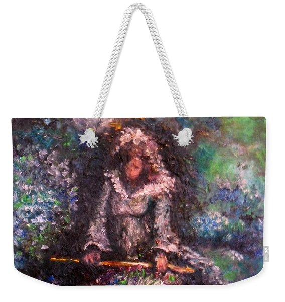 Weekender Tote Bag featuring the painting For Grandma by Laurie Lundquist