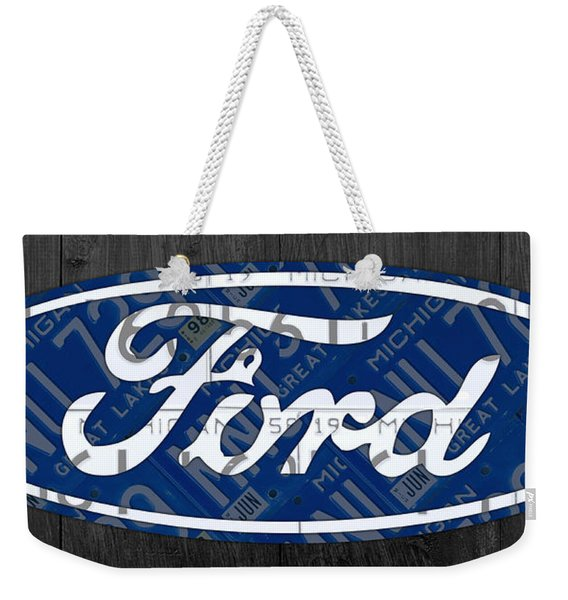 Ford Motor Company Retro Logo License Plate Art Weekender Tote Bag