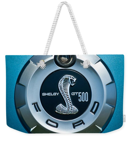 Weekender Tote Bag featuring the photograph Ford Shelby Gt 500 Cobra Emblem by Jill Reger