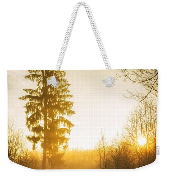 Forest Path Into The Warm Orange Sunset Weekender Tote Bag