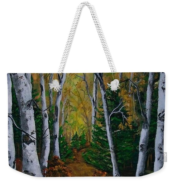 Birch Tree Forest Trail  Weekender Tote Bag