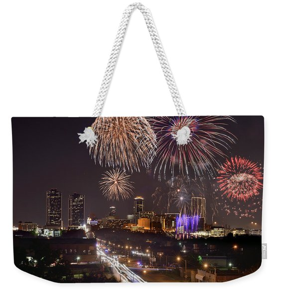 Fort Worth Skyline At Night Fireworks Color Evening Ft. Worth Texas Weekender Tote Bag
