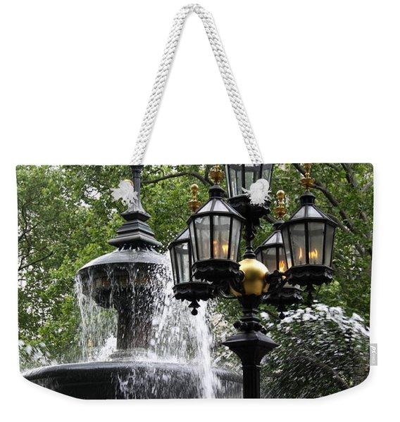 Fountain And Gaslight Lantern Weekender Tote Bag
