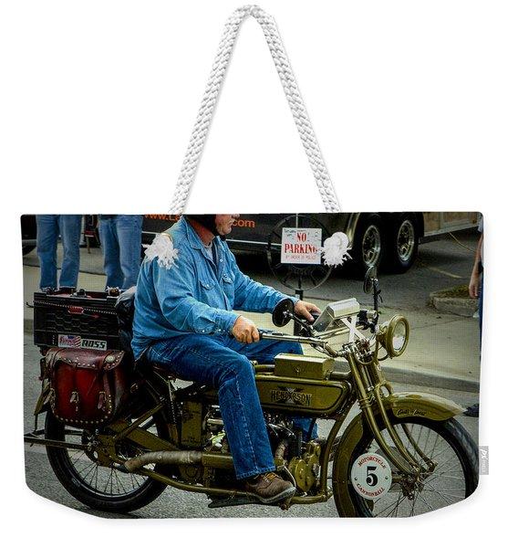 Four Cylinder Henderson Motorcycle Weekender Tote Bag