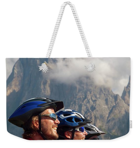 Four Happy Mountain Bikers Are Gazing Weekender Tote Bag