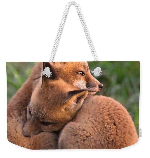 Fox Cubs Cuddle Weekender Tote Bag