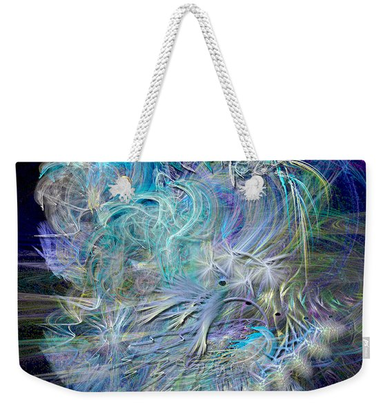 Fractal Feathers Blue Weekender Tote Bag