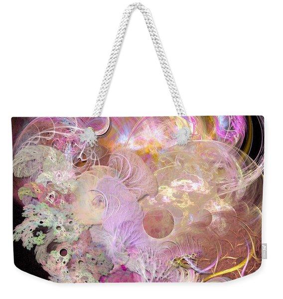 Fractal Feathers Pink Weekender Tote Bag