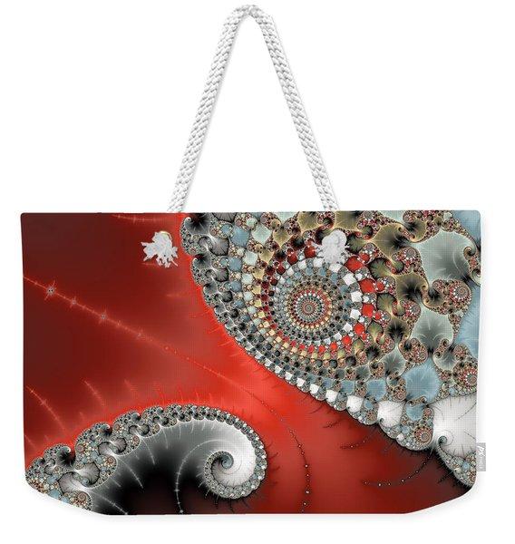 Fractal Spiral Art Red Grey And Light Blue Weekender Tote Bag