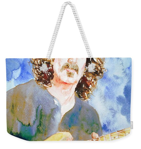 Frank Zappa Playing The Guitar Watercolor Portrait Weekender Tote Bag