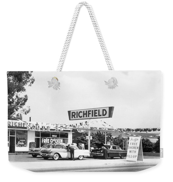 Free Chicken With Gas Fill-up Weekender Tote Bag