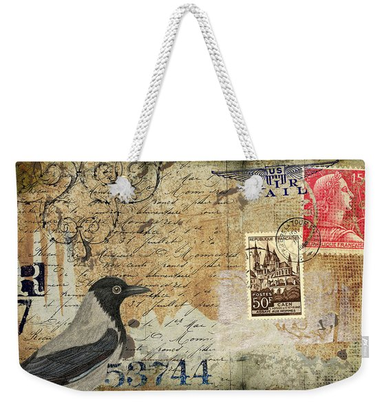 French Bird Postcard Weekender Tote Bag