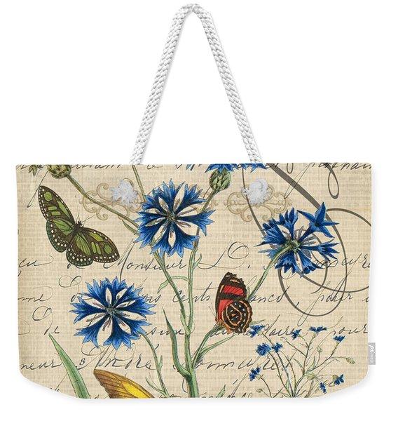 French Botanical-bluet Weekender Tote Bag