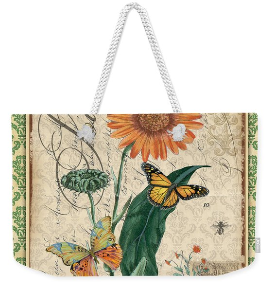 French Botanical Damask-a Weekender Tote Bag