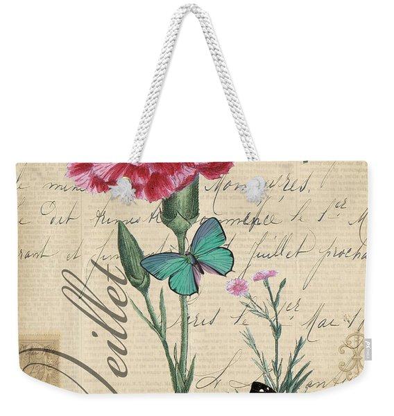 French Botanical-oeillet Weekender Tote Bag