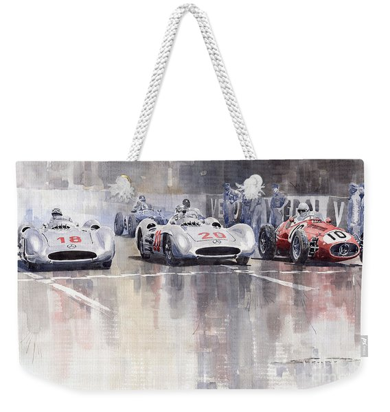 French Gp 1954 Mb W 196 Meserati 250 F Weekender Tote Bag