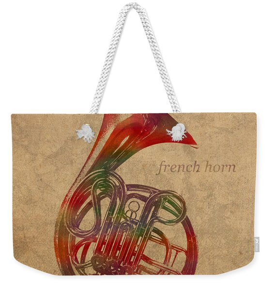 French Horn Brass Instrument Watercolor Portrait On Worn Canvas Weekender Tote Bag