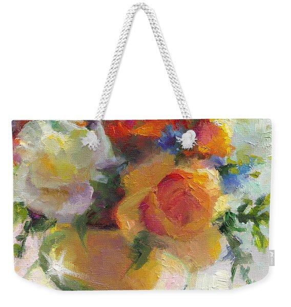 Fresh - Roses In Teacup Weekender Tote Bag