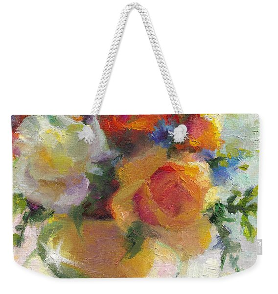Weekender Tote Bag featuring the painting Fresh - Roses In Teacup by Talya Johnson