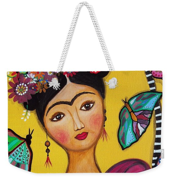 Frida Kahlo And Her Cat Weekender Tote Bag