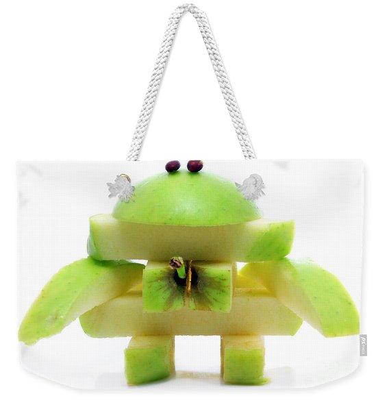 Friendly Apple Monster Made From One Apple Weekender Tote Bag
