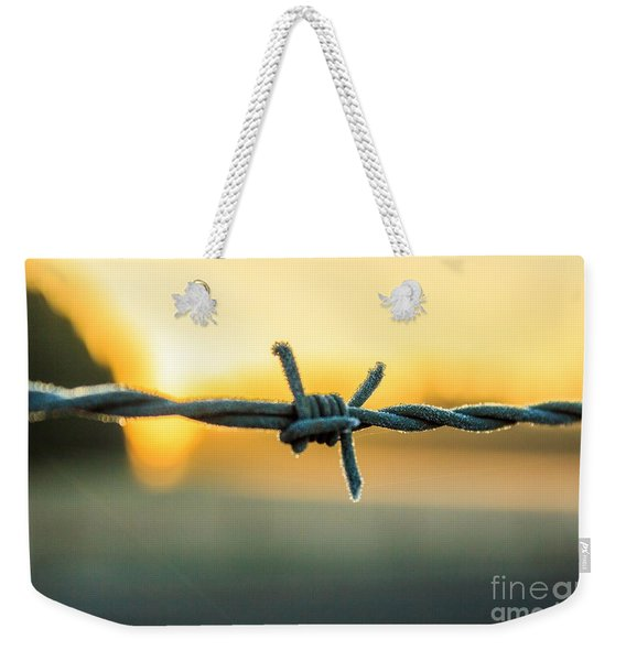Frost On Barbed Wire At Sunrise Weekender Tote Bag