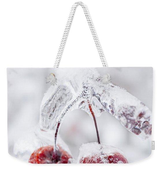 Frozen Crab Apples On Icy Branch Weekender Tote Bag