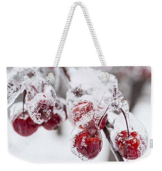 Frozen Crab Apples On Snowy Branch Weekender Tote Bag
