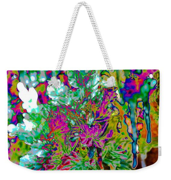 Weekender Tote Bag featuring the digital art Frozen Juniper by Mae Wertz