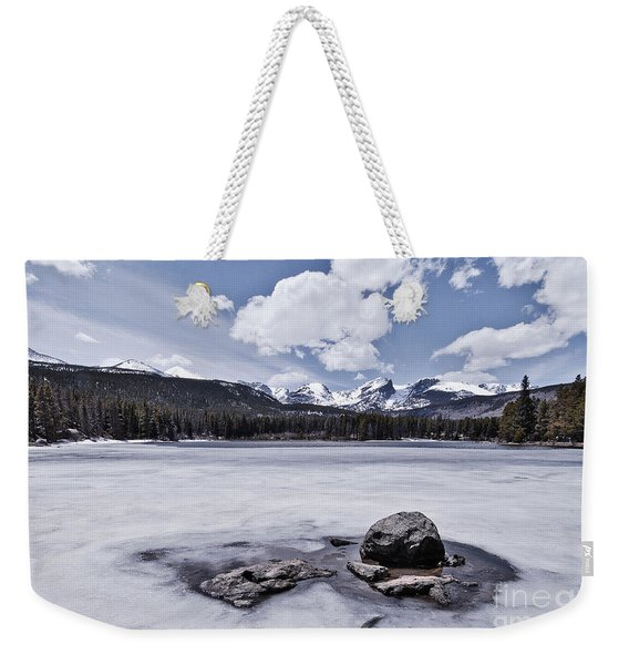 Weekender Tote Bag featuring the photograph Frozen Lake by Mae Wertz