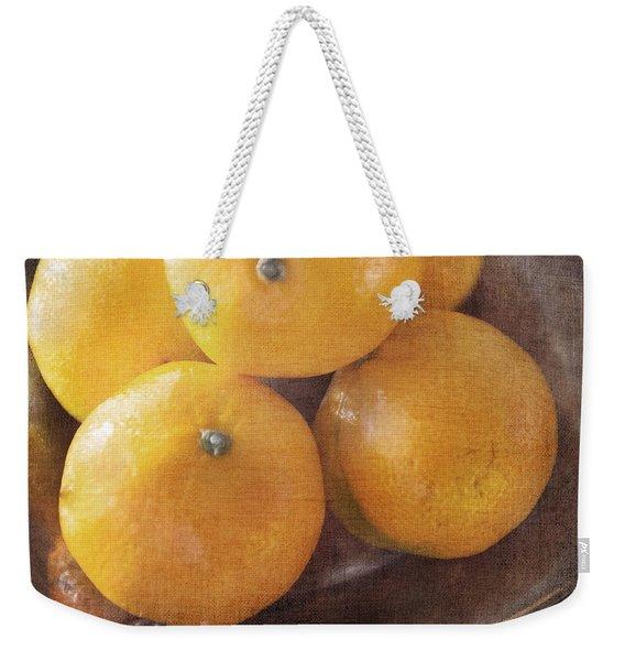 Fruit Still Life Oranges And Antique Silver Weekender Tote Bag