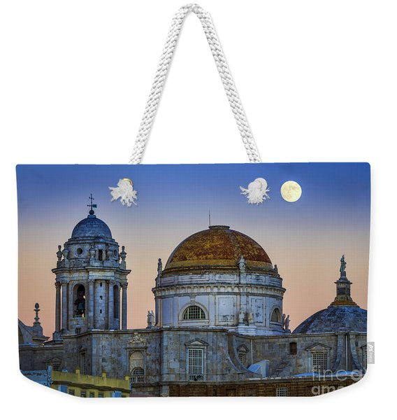Full Moon Rising Over The Cathedral Cadiz Spain Weekender Tote Bag