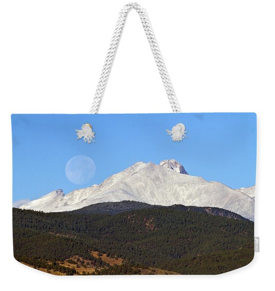 Full Moon Setting Over Snow Covered Twin Peaks  Weekender Tote Bag