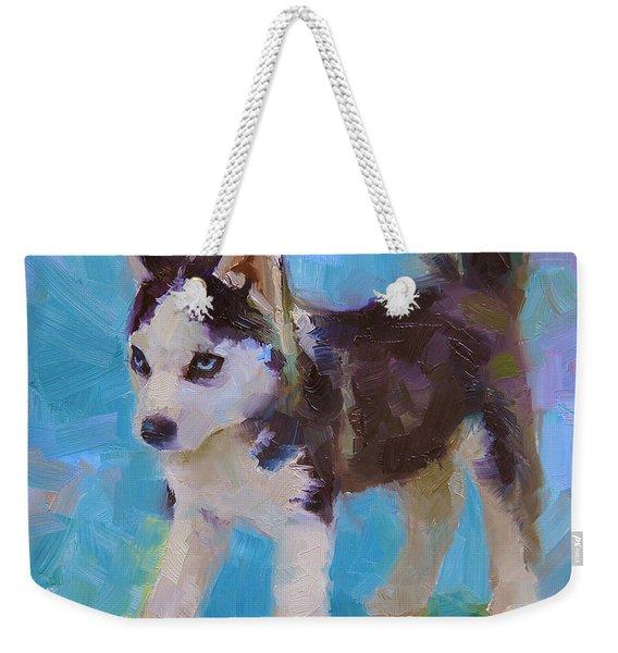 Alaskan Husky Sled Dog Puppy Weekender Tote Bag