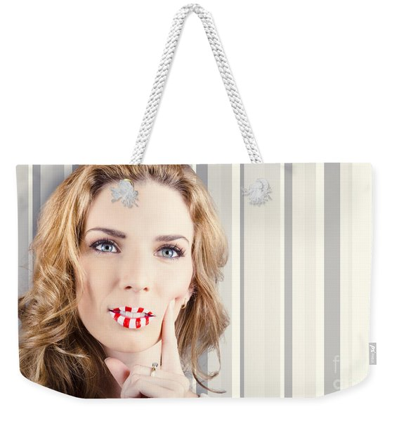 Funky Retro Summer Girl Wearing Striped Makeup Weekender Tote Bag