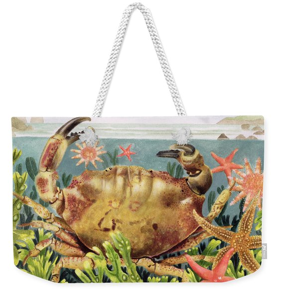Furrowed Crab With Starfish Underwater Weekender Tote Bag