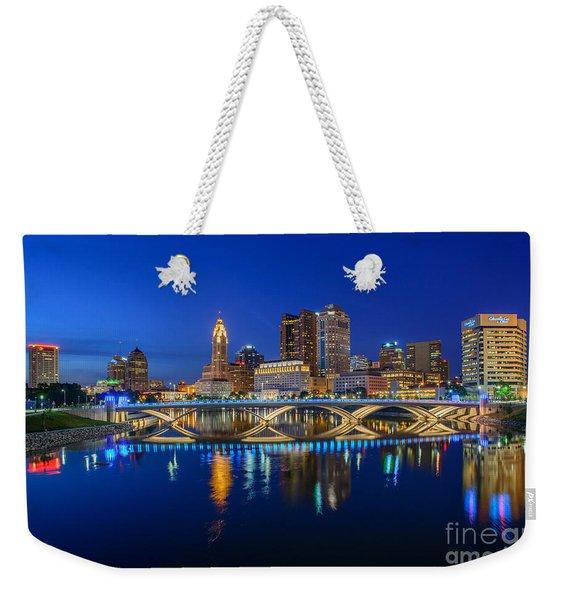 Fx2l530 Columbus Ohio Night Skyline Photo Weekender Tote Bag
