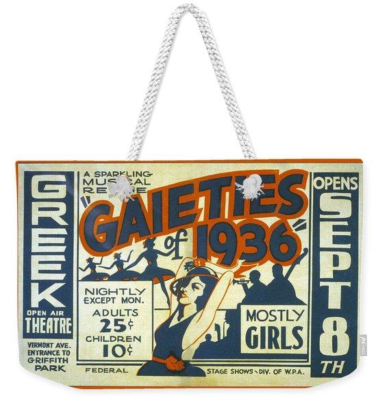 Gaieties Of 1936 Weekender Tote Bag