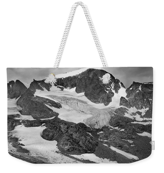 509427-bw-gannett Peak And Gooseneck Glacier, Wind Rivers Weekender Tote Bag