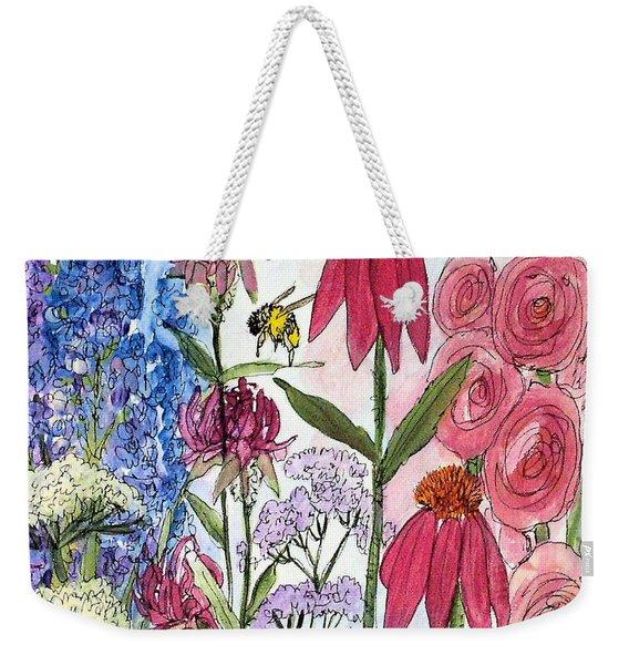 Garden Flower And Bees Weekender Tote Bag