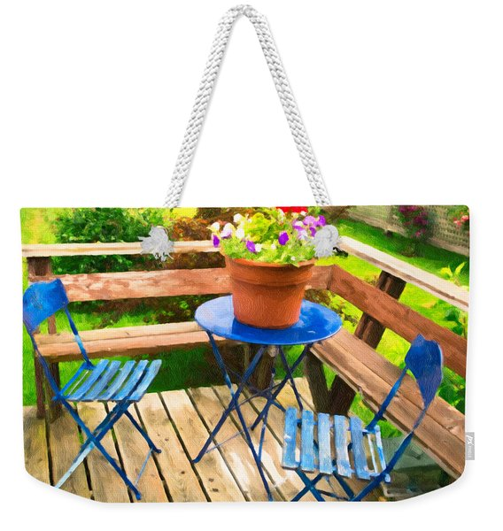 Weekender Tote Bag featuring the photograph Garden Party by Garvin Hunter