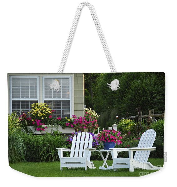 Garden With Lawn Chairs Weekender Tote Bag